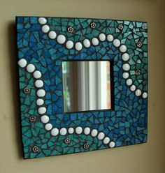 Blue / Green Mosaic Mirror - Fine Art Wall Hanging HANDMADE BY ME. $65.00, via Etsy. Love these Colors Joan