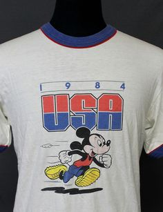 intage MICKEY MOUSE 1984 olympic T SHIRT medium 80s