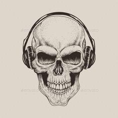 Skull in Headphones Listening to Music - Tattoos Vectors
