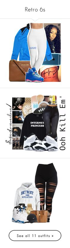 """Retro 6s"" by hellokittynascia ❤ liked on Polyvore featuring Reebok, MICHAEL Michael Kors, Lyssé Leggings, NIKE, Michael Kors, NARS Cosmetics, Retrò, Akira, Louis Vuitton and Nicki Minaj"