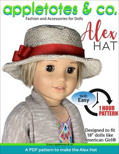 """Alex Hat sewing pattern designed to perfectly fit 18"""" dolls like American Girl and Our Generation delivered instantly via email.This stylish hat is the perfect finishing touch to so many summer outfits for your doll! Make this adorable hat with denim, a quilting fabric with a novelty print, or even a home décor fabric. The possibilities are endless! Skill level: Easy (One Hour or Less Pattern) You Will Need: 1 Fat Quarter (Woven) 1/4 yard fusible interfacing (SF101) 1/2""""-5/8"""" wide Grosgrain Ribb Hat Patterns To Sew, Doll Clothes Patterns, Sewing Patterns Free, American Girl Diy, Diy Hat, Stylish Hats, Novelty Print, 18 Inch Doll, Colorful Pictures"""