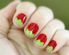 Strawberry nail art for short nails Cute Nail Art, Beautiful Nail Art, Gorgeous Nails, Pretty Nails, Hot Nails, Hair And Nails, Strawberry Nail Art, Fingernails Painted, Nail Time