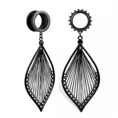 Pair of Rainbow Stainless Steel Screw Fit Tunnels Gauges with Teardrop  Dangle