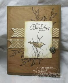 Stampin Up': Simply Sketched wood grain embossing and stamped branches on the card base . two fishtail flags that could be washi . lovely antique brad on top . Masculine Birthday Cards, Birthday Cards For Men, Handmade Birthday Cards, Masculine Cards, Greeting Cards Handmade, Birthday Wishes, Theme Nature, Sympathy Cards, Paper Cards