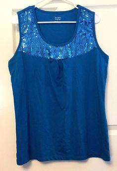 Jennifer Lauren Sleeveless Knit Top Tank Cami Blue Sequinned Bodice Sz L Casual #JenniferLauren #KnitTop #CareerCasualClubEvening