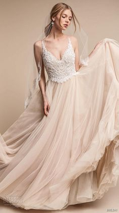 bhldn spring 2017 bridal sleeveless v neck heavily embellished bodice tulle skirt romantic princess blush color wedding dress open v back chapel train (chantal) mv -- BHLDN's Neo-Bohemian Wedding Dresses #wedding #bridal #weddingdress