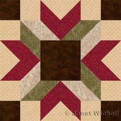 """Merry Kite Quilt Block Pattern-About.com By Janet Wickell.  Block finishes at 12 inches """"Contrast variations in all of the block's patchwork can be shifted around to create different looks, but the square center and angled bars radiating outwards from it are prime spots for experimentation."""" Visitsite: http://quilting.about.com/od/12-Inch-Quilt-Blocks/ss/Quilt-Block-Patterns-Sew-12-Merry-Kite-Blocks.htm?nl=1"""
