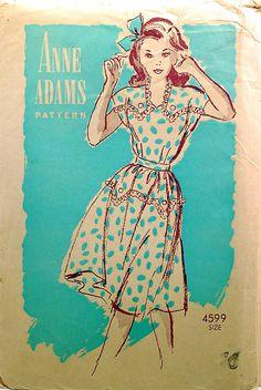 1940s vintage sewing pattern dress, via Flickr.