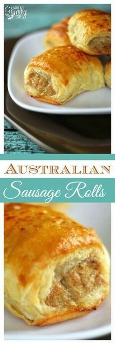 Australian Sausage Rolls are a seasoned sausage wrapped in a flaky, buttery pastry. They are delicious for breakfast, lunch, or dinner, or as an appetizer. via /favfamilyrecipz/ (Beef Sausage Recipes) Breakfast Sausage Seasoning, Sausage Breakfast, Breakfast Recipes, Breakfast Time, Cajun Sausage, Sausage Meatballs, Sausage Casserole, Turkey Sausage, Casserole Recipes