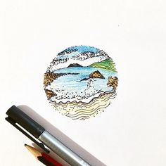 New Zealand beach pen and ink and watercolour pencil quick sketch by www.cipdesignstudio.com