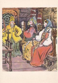 Jahrgang Illustration von T. Mawrina (A. Puschkin--das Märchen vom Zaren Saltan) Postkarte--1960