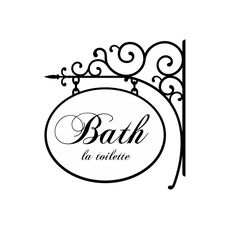"""Bathroom Wall Decal with Wrought Iron Design - Bath Sign with La Toilette Saying in Vinyl Lettering for Mirror or Wall14""""H x 13""""W. $21.00, via Etsy."""