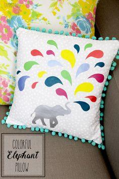 Colorful DIY Elephant Pillow