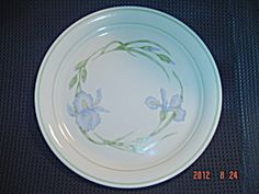Corelle Iris Dinner Plates - Vintage with Tan Background - I also have lunch plates in this pattern.