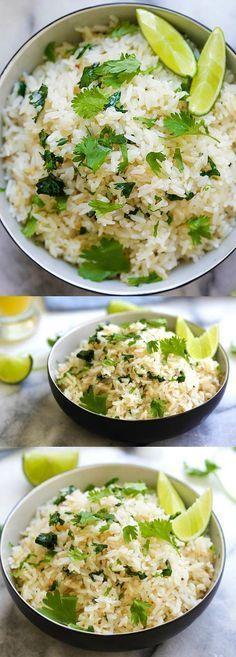 Cilantro Lime Rice - easy and delicious one-pot rice with cilantro, lime juice and butter. This Mexican-inspired rice is better than Chipotle | rasamalaysia.com