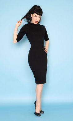 1960s Style Mod Super Spy Black Dress