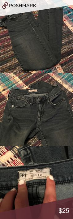 Free people jeans Very dark blue, almost black jeans. Stretchy fit and only worn once Free People Jeans Skinny