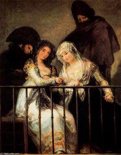 Francisco de Goya >> Majas on a balcony  |  (Oil, artwork, reproduction, copy, painting).
