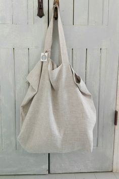 Oversize linen tote bag/market bag/beach bag/re-usable grocery bag Linen Bag, Market Bag, Large Tote, Handmade Bags, Hobo Bag, Canvas Tote Bags, Leather Bag, White Leather, Couture