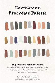 Earthstones Procreate Color Palette — Wildflower Scout Co. Colour Pallette, Colour Schemes, Color Patterns, Color Combos, Inmobiliaria Ideas, Ipad Art, Color Swatches, Paint Swatches, Colour Board