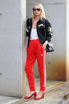 Adidas tracksuit bottoms with heels, so glam
