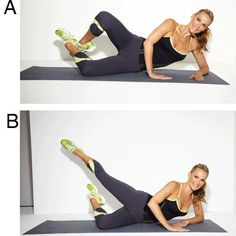 Molly Sim's Lower-Body Workout: Side-Lying Knee-In Tracy Anderson Workout, Tracy Anderson Diet, Fitness Diet, Fitness Motivation, Belly Fat Diet Plan, Molly Sims, Celebrity Workout, Butt Workout, Workout Pics