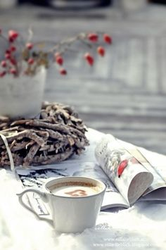 Simple, serene moment .... Cup of coffee, Sunday morning with a magazine....via Âme vagabonde