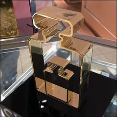 """Somehow the classic lines of this Chanel Perfume Bottle Silhouette Dimensional say """"Fragrance"""" without using the word at all. Chanel Inspired Room, Designer Caps, Retail Fixtures, Chanel Perfume, Visual Merchandising, Perfume Bottles, Fragrance, Silhouette, Cosmetics"""