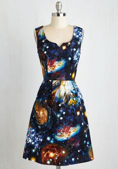 Heart and Solar System A-Line Dress. In honor of your favorite academic subject, you arrive to class in this intergalactic, cotton dress! #blue #modcloth