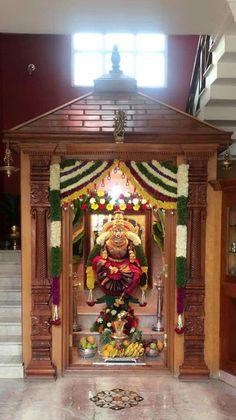 Varalakshmi Vratham Decoration Ideas – How To Pooja Room Door Design, Main Door Design, Home Room Design, Temple Room, Home Temple, Temple Design For Home, Mandir Design, Interior Design Minimalist, Decor Wedding