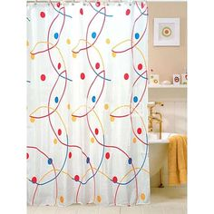 12 99 Cute Red Blue Yellow Spots Floral 180 180cm 100  Polyester Shower  CurtainYvette Cabaleiro  ycabaleiro  on Pinterest. Red And Blue Shower Curtain. Home Design Ideas