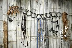 This is so cool! Horse shoe tack rack.