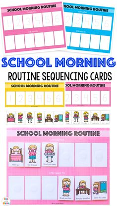 Free printable kids school morning routine cards,…