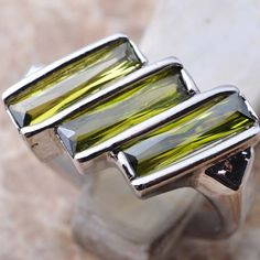Unique Green Peridot Gemstone Silver Fashion Jewelry Ring Size5 6 7 8 9 S020 #Handmade