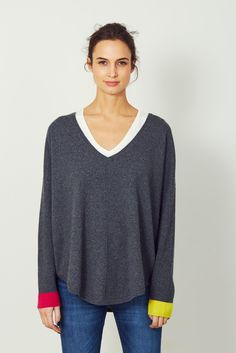 Cashmere Colour Pop Slouchy v neck from Wyse London