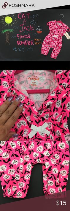 """NWT Cat & Jack Hot Pink Floral Romper New Born Target's Cat & Jack is designed with kids, for kids!  Who doesn't love this brand?  This romper was a gift for my 9 month old baby girl, Penelope """"Fussy"""". She was born on August 29, 2016, 6 weeks early.  Too bad it wasn't the season to wear this. Now it's available for your little love to wear. ❤️ Cat & Jack Target Bottoms Jumpsuits & Rompers"""