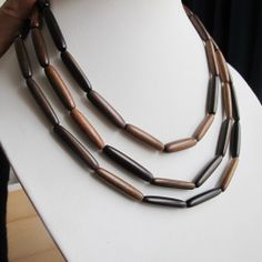 Tube wood beads 2 strands natural rosewood beads dark by FARRAgem Wooden Necklace, Strands, Tube, Necklaces, Chain, Beads, Dark, Trending Outfits, Natural