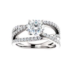 Asymmetrical Diamond Accented Engagement Ring | ever&ever