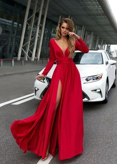 Sexy Deep V Neck Long Sleeves Prom Dresses 2018 Leg Split Evening Gowns burgundy prom dress,long sleeves prom dress,chiffon prom dress,long Prom Dresses Long With Sleeves, Chiffon Evening Dresses, Prom Dresses With Sleeves, Formal Evening Dresses, Sexy Dresses, Long Dresses, Long Sleeve Formal Dress, Burgundy Dress Long Sleeve, Sleeved Prom Dress