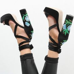 Floral Embroidered Lace Up Chunky Heels