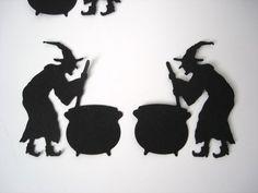 25 Halloween Black Witch and Cauldron die cut punch scrapbook embellishments - Samhain Halloween, Halloween Trees, Halloween Pictures, Halloween Season, Halloween Cards, Holidays Halloween, Halloween Decorations, Outdoor Decorations, Table Decorations