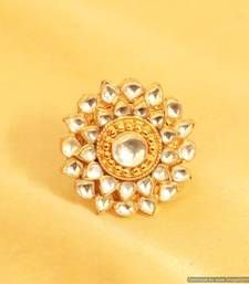 Buy Gold Look Kundan Adjustable Cocktail Ring Online