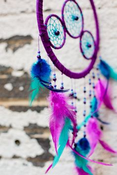Purple Four Circles Dreamcatcher - Wall Decor - Earthbound Trading Co.