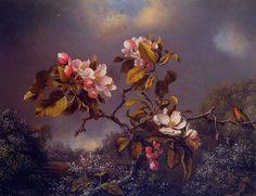 Martin Johnson Heade -Apple Blossoms and Hummingbird(1871)