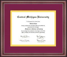 University Certificate, Central Michigan University, University Diploma, Diploma Frame, Alma Mater, School Colors, Appreciation, Graduation, Frames