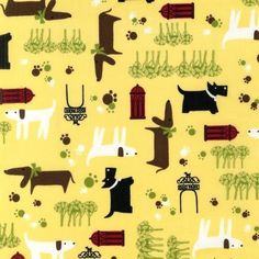 SALE  Whiskers and Tails in Yellow  Robert Kaufman  by FabricLuv, $6.45