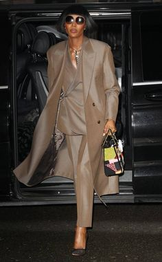 Naomi Campbell from See Every Celebrity at Fashion Week: Fall 2019 Spotted in Paris during Fashion Week on Mar. Real Model, Naomi Campbell, Celebs, Celebrities, Celebrity Gossip, Duster Coat, Street Style, Paris, Fall