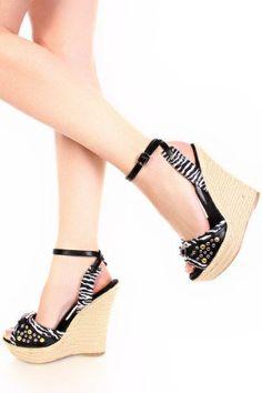 Black Zebra Faux Leather Stud Gem Ankle Strap Wedges