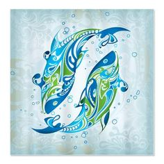 Pretty Blue Dolphins Shower Curtain