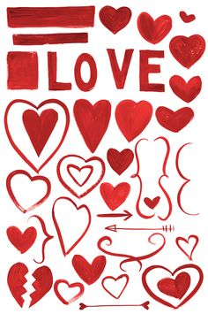 Digital Clipart Watercolor Hearts Valentine's by SwiejkoForPrint